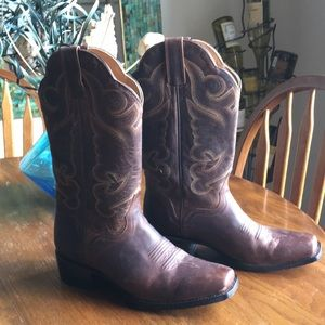 Ladies leather cow boy boots
